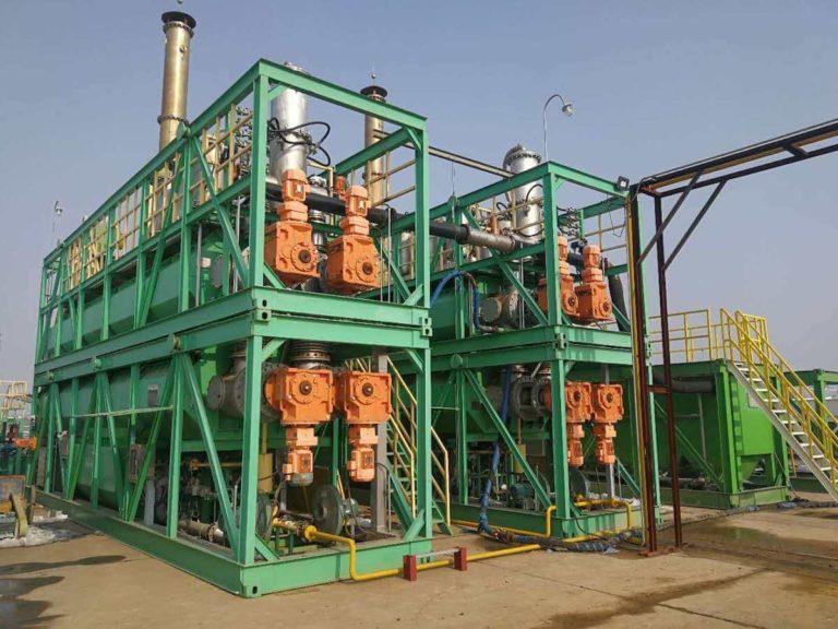 Double-decker pyrolysis installation